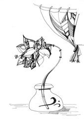 Flower in glass vase. Hand drawn black and white illustration.
