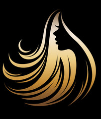 illustration vector of women silhouette golden icon