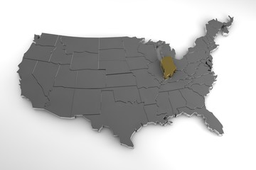 United States of America, 3d metallic map, with Indiana state highlighted. 3d render