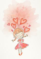 Dream girl. Painting illustration