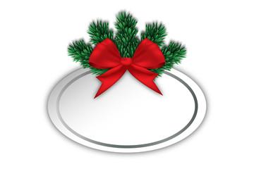 rote Schleife mit Schild für Weihnachtswünsche