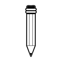 pencil with eraser icon image vector illustration design  black and white