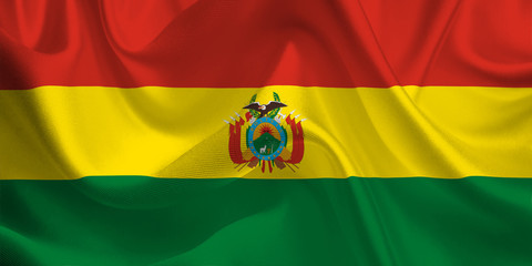 Waving flag of the Bolivia. Bolivian Flag in the Wind. Bolivian National mark. Waving Bolivia Flag. Bolivia Flag Flowing.