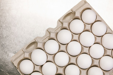 Bakery: Cardboard Tray Of Eggs On Metal Counter