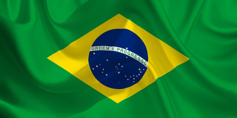 Waving flag of the Brazil. Brazilian Flag in the Wind. Brazilian National mark. Waving Brazil Flag. Brazil Flag Flowing.