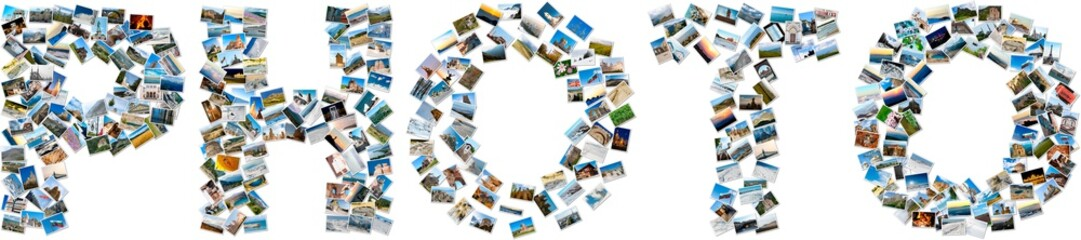 Collage of travel images forming the english word PHOTO