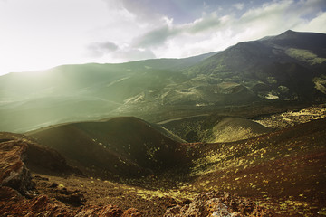 Etna volcanic landscape. Sicily. Italy
