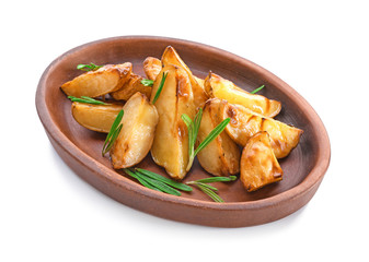 Plate of delicious baked potatoes with rosemary, isolated on white