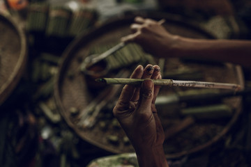 Manufacturing of cigars by hand. the traditional method