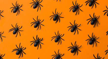 Small black spiders on orange background/miniature.