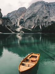 Boat at the Braies Lake, Dolomites