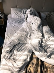 A messy morning bed