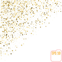 Abstract white modern pattern with gold stars. Vector illustration. Shiny background. Texture of gold foil.