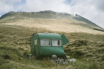 An abandoned caravan in the Scottish Highlands