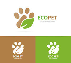 Vector paw and leaf logo combination. Pet and eco symbol or icon. Unique vet and organic logotype design template.