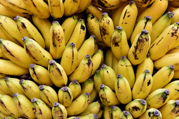 Fresh bananas in a market
