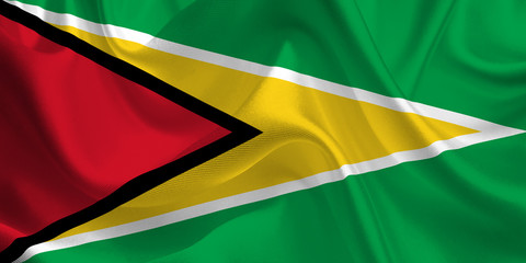 Waving flag of the Guyana. Flag in the Wind. National mark. Waving Guyana Flag. Guyana Flag Flowing.