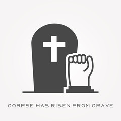 Silhouette icon corpse has risen from grave