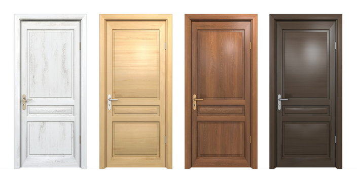 Collection of different wooden doors isolated on white