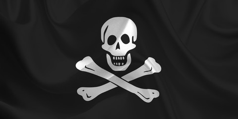 Waving flag of the Jolly Roger. Pirate Flag in the Wind. Pirates mark. Waving Jolly Roger Flag. Jolly Roger Flag Flowing.