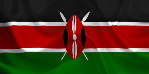 Waving flag of the Kenya. Flag in the Wind. National mark. Waving Kenya Flag. Kenya Flag Flowing.