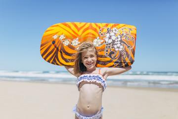 """Portrait of an Adorable Little Girl at Beach"