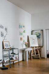 Original Watercolor Artworks in Bright Home Atelier