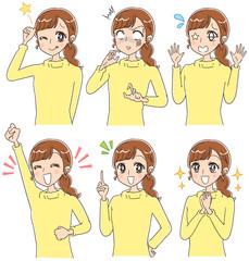 少女漫画風 様々な表情をした女性のイラスト(セット)