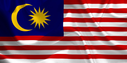 Waving flag of the Malaysia. Flag in the Wind. National mark. Waving Malaysia Flag. Malaysia Flag Flowing.