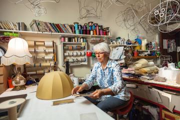 Italian Artisan at Work in her Workshop