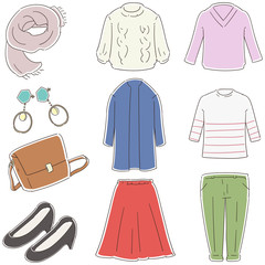 秋冬のファッションアイテムのイラスト(セット)