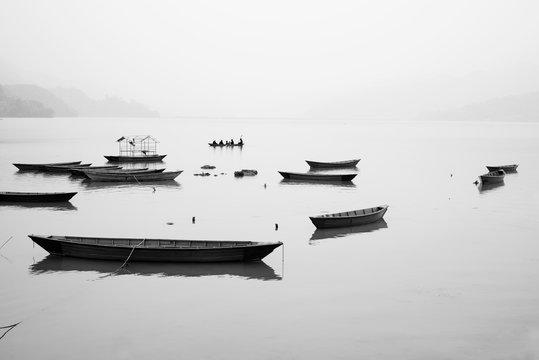 Boats in Phewa Lake, Pokhara, Nepal
