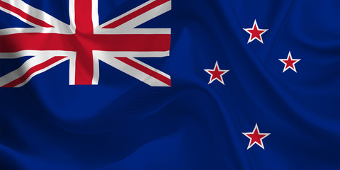 Waving flag of the New Zealand. Flag in the Wind. National mark. Waving New Zealand Flag. New Zealand Flag Flowing.