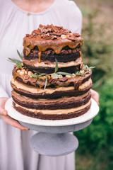 Homemade chocolate and caramel cake