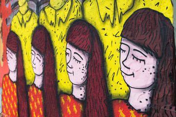 Graffiti of changing emotions woman