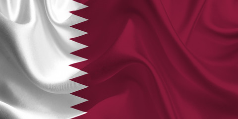 Waving flag of the Qatar. Flag in the Wind. National mark. Waving Qatar Flag. Qatar Flag Flowing.