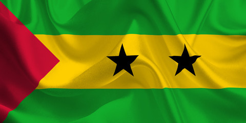 Waving flag of the Sao Tome and Principe. Flag in the Wind. National mark. Waving Sao Tome and Principe Flag. Sao Tome and Principe Flag Flowing.