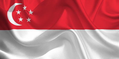 Waving flag of the Singapore. Flag in the Wind. National mark. Waving Singapore Flag. Singapore Flag Flowing.
