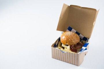 Close up of burger and French fries in box