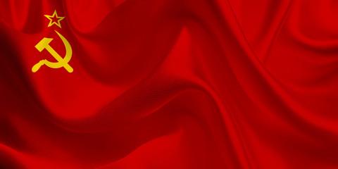 Waving flag of the Soviet Union. SSSR Flag in the Wind. USSR National mark. Waving Soviet Union Flag. Soviet Union Flag Flowing.