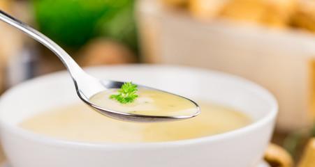Portion of Chanterelle Soup, selective focus