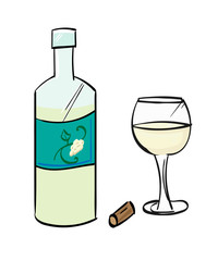 White wine bottle and cork, with a glass half full of white wine.