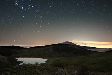 Nebrodi Park Beneath Star Trails, Sicily