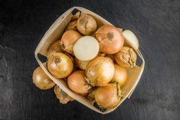 Slate slab with White Onions