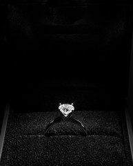 Diamond Engagement Ring in box Isolated on black background