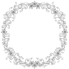 hand drawn decorated frame of flowers