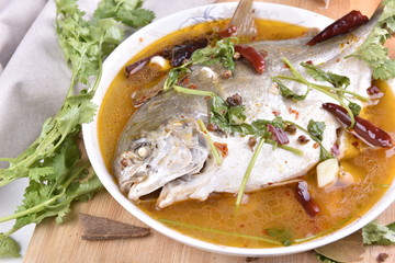 Pomfret steam fish, chinese food.