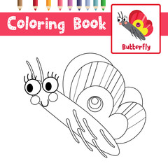 Coloring page of Butterfly side view animals for preschool kids activity educational worksheet. Vector Illustration.