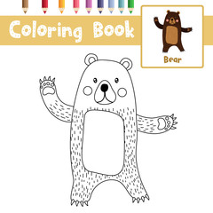 Coloring page of Standing Bear raising two hands animals for preschool kids activity educational worksheet. Vector Illustration.