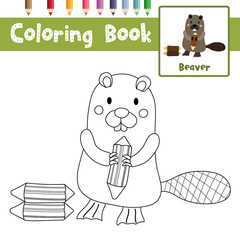 Coloring page of Standing Beaver holding a log animals for preschool kids activity educational worksheet. Vector Illustration.